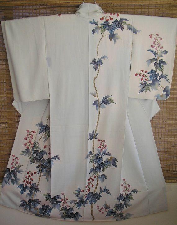 WALL ART Homongi Vintage Japanese Silk Kimono.Beautiful Watercolor Leaves Red Flower Cream Silk Vintage Showa Japan Kimono,Stunning Wall Art