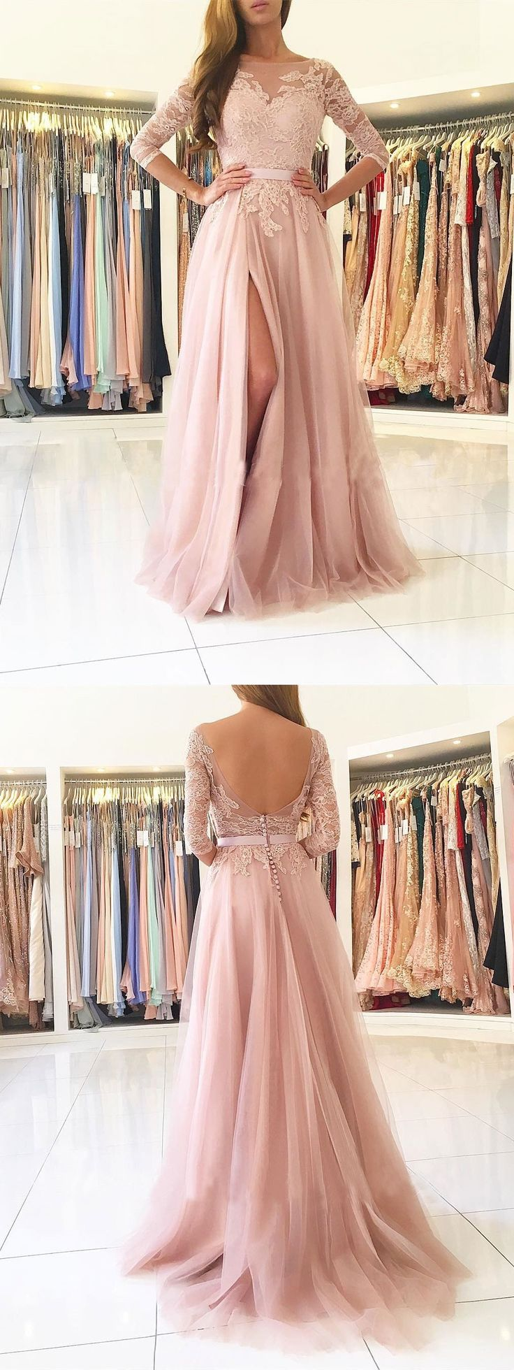 Long prom dresses with half sleeves,lace prom dresses,long bridesmaid dresses,nude prom dresses,long formal dresses