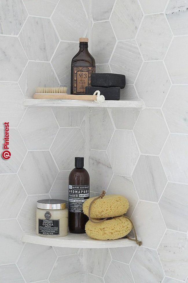 Moderne grau – Dusche Organisation – Hexagon Fliese – Badezimmer Ideen – Kitchen Design –  – #badezimmerideen