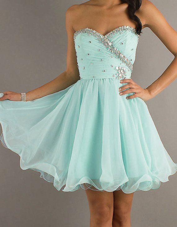 short prom dress mint color is soo cute along with not too many sparkles and I like the way there are some sparkles on the side!!
