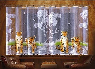 Firanka Tygrys Ręcznie #malowana_firanka z motywem tygrysów.  Oryginalna firanka, która dopasuję się do każdego wnętrza.  Rozmiar: wysokość: 150 cm szerokość: dowolna  Cena dotyczy 1 mb tkaniny.   Raport wzoru wynosi: 188 cm Dostępna na stronie: kasandra.com.pl