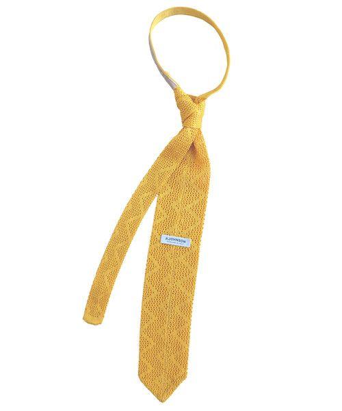 Yellow Zig Zag Knit Tie - P Johnson