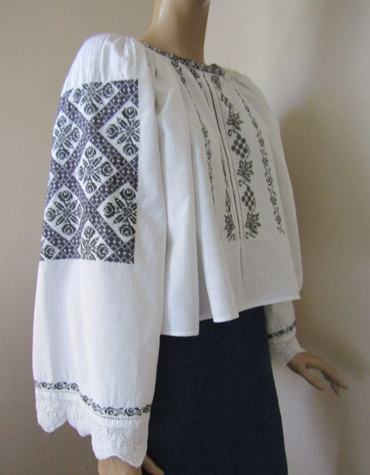 Vintage hand embroidered Romanian peasant blouse, ethnic handmade top M/L Available at www.greatblouses.com