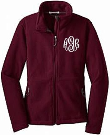 Maroon Monogrammed Full Zip Fleece Jacket