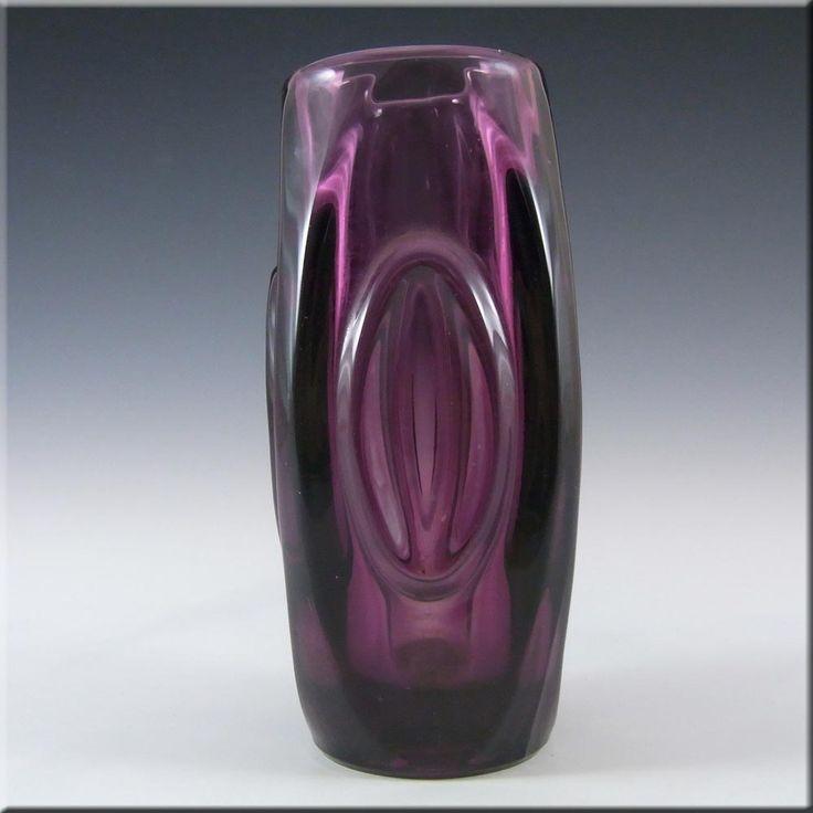 Rosice Sklo Union Purple Glass Lens Vase - Rudolf Schrötter - £20.00