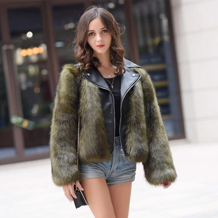 Winter Streetwear Short Faux Fur Coat Women Long Sleeve Leather Pat…