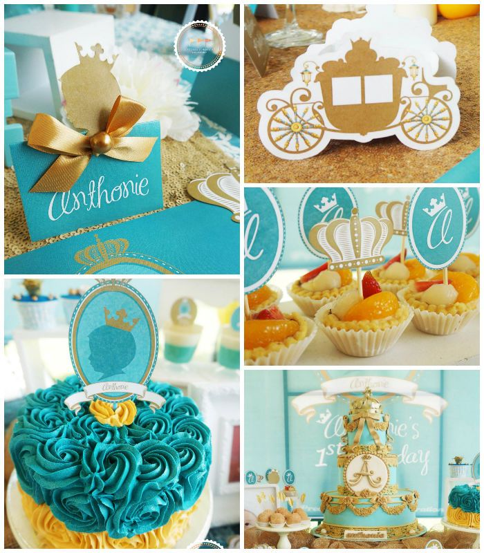 Royal Prince 1st Birthday Party with Lots of Super Cute Ideas via Kara's Party Ideas | Cake, decor, cupcakes, favors, games, printables, and...