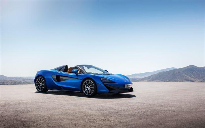 Hämta bilder McLaren 570S Spindel, 2018, Sportbilar, blå 570S, superbil, McLaren