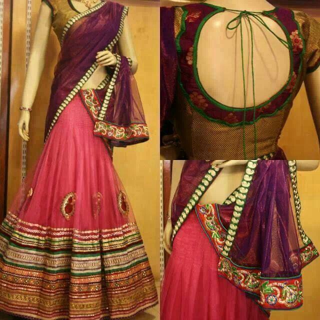 Traditional half saree style