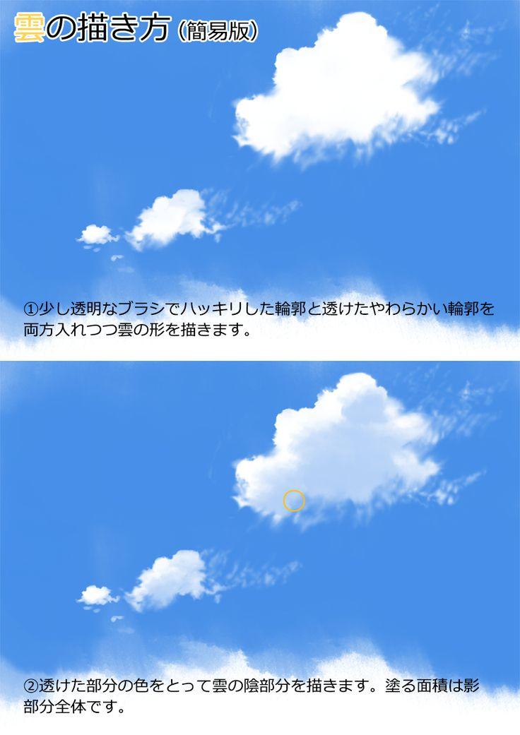 質感の描き分けと雲の描き方(Twitterまとめ) [2]