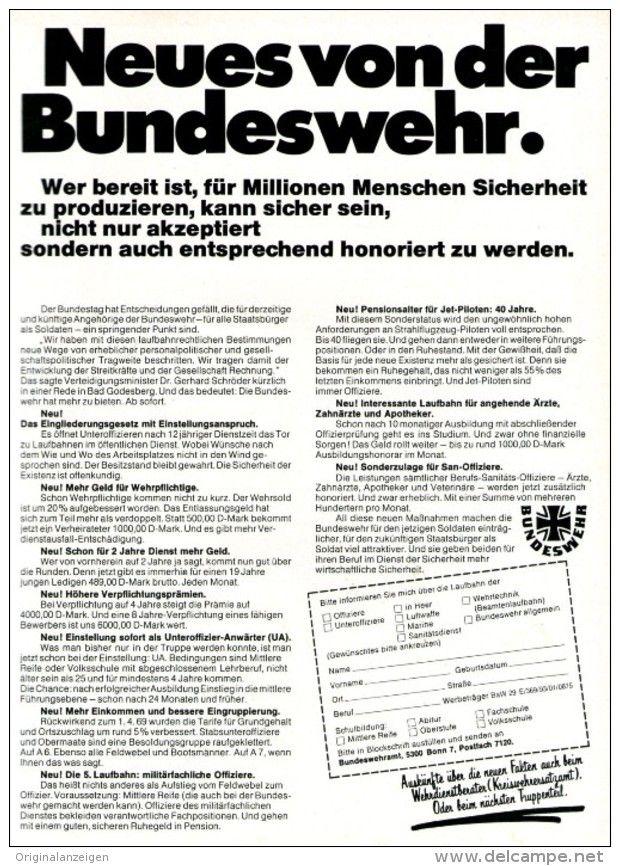 Original-Werbung/ Anzeige 1969 - BUNDESWEHR - ca. 180 x 240 mm