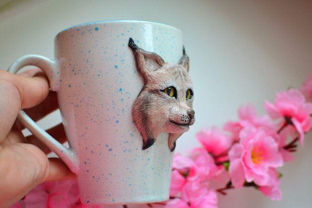 Mugs – Personalized mug Bobcat (lynx), Coffee Lover – a unique product by BrightBobcat on DaWanda