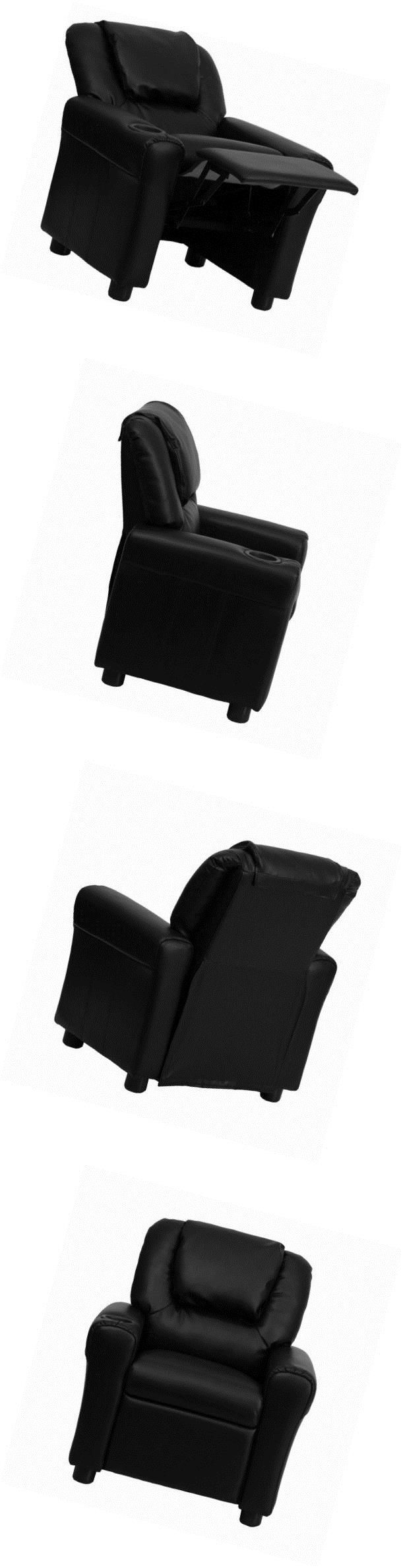 Sofas and Armchairs 134648: Flash Furniture Dg-Ult-Kid-Bk-Gg Contemporary Black Vinyl Kids Recliner With Cup -> BUY IT NOW ONLY: $79.21 on eBay!