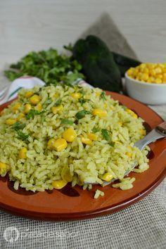 Arroz poblano o arroz con chile poblano y elote www.pizcadesabor.com