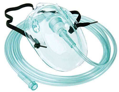 Sauerstoffmaske Sauerstoffmasken f. Erwachsene 1 St�ck mit gr�nem 210cm Sauerstoffschlauch O2-Maske O2-Masken O2 Atemmaske Atemmasken
