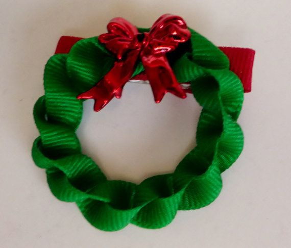 Christmas Wreath Hairclip Ribbon Sculpture by TakeABowHandcrafts, $4.50