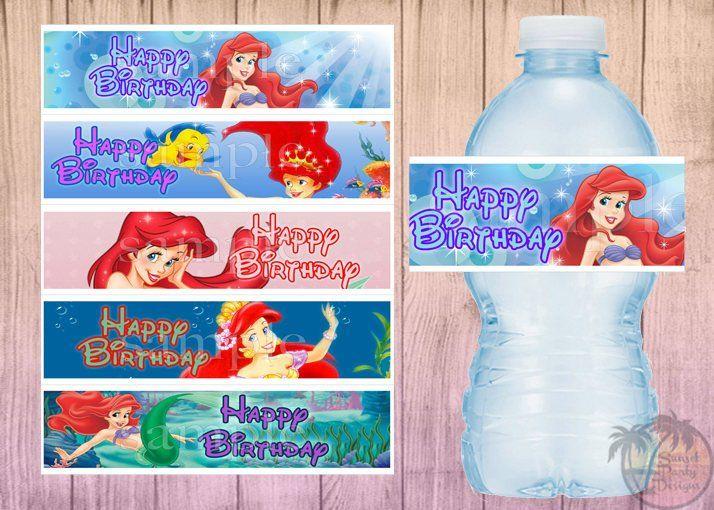Water Label Mermaid Birthday Ariel Water Bottle Label Mermaid Party,Ariel,Disney princess,Princess Ariel The little Mermaid Bottle Label