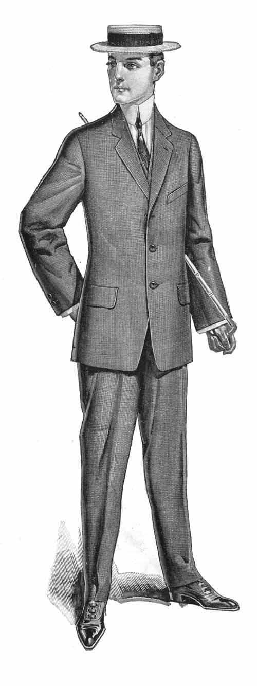 Shacoya Trotter . . . . Men's 1911 garments consist of natural shoulders with a slight waist definition to the jacket.