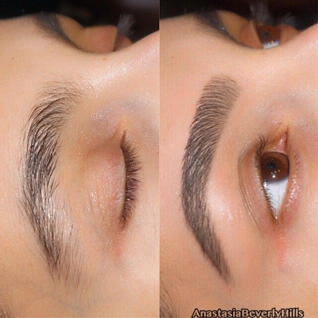 """""""My client has naturally sparse hair on her eyebrows & wanted a full brow shape. ✨I used  #Dipbrow in Medium Brown & #BrowWiz same shade. ✨ Set the shape…"""""""