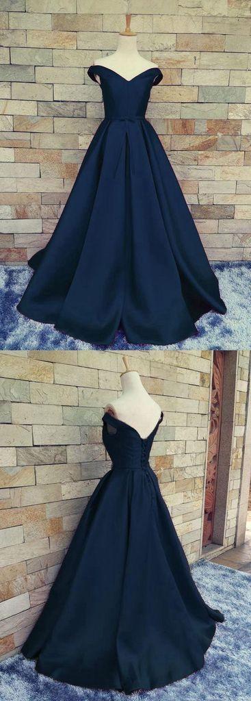 navy blue prom dress, long prom dress, off shoulder prom dress, A-line evening dress, cheap prom dress, BD380