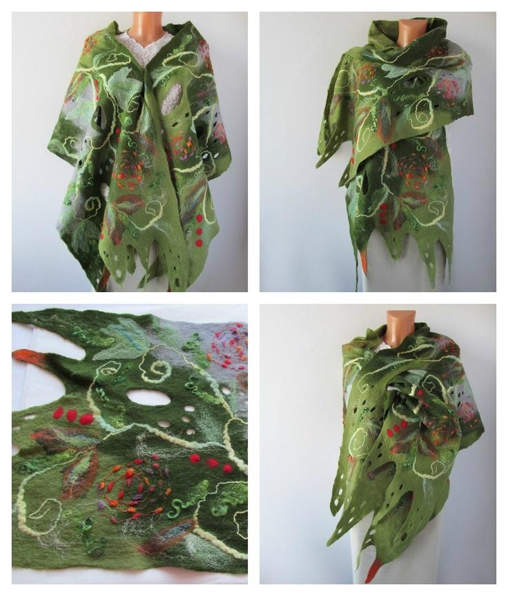 My Elvish Stole by Galafilc  #felted #scarf #stole #green #felting #wetfelting #felt