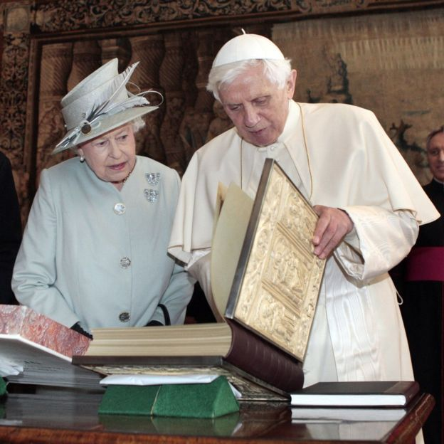 Queen Elizabeth II talking with Pope Benedict XVI during an audience in the Morning Drawing Room at the Palace of Holyroodhouse in Edinburgh during a four-day visit by the Pope to the UK.