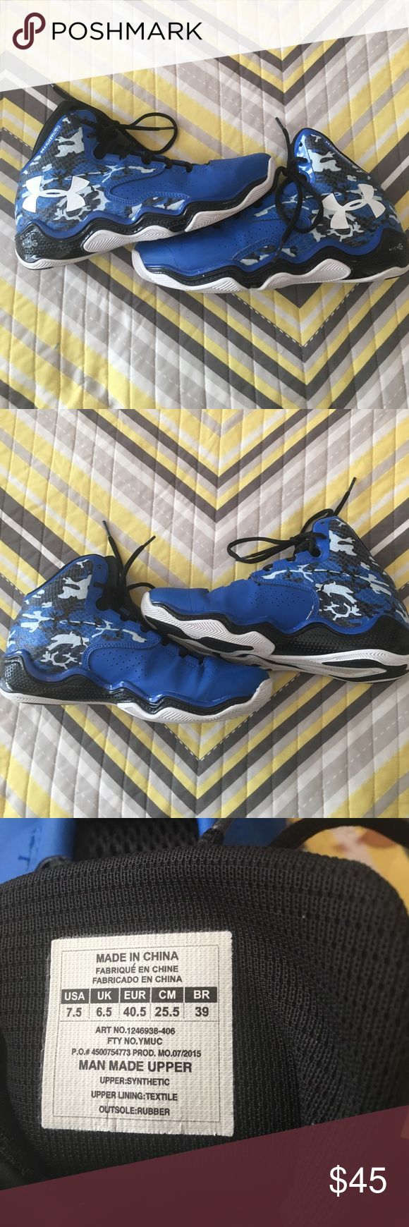 Mens blue camouflage under armour basketball shoes Used. Mens size 7.5. Under armour clutch fit basketball shoes. Some slight scuffing on heels but good condition Under Armour Shoes Sneakers