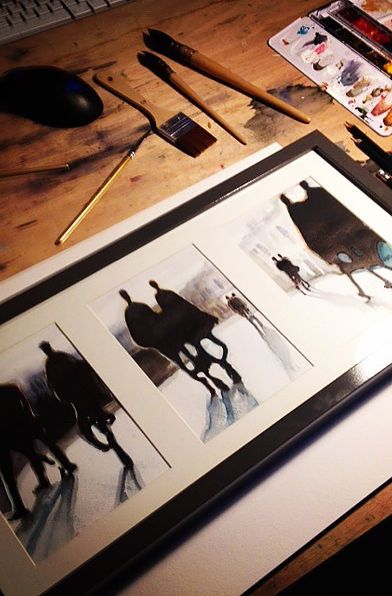 Serie sur le thème du flou, perception différente de scènes du quotidien. Vision abstraite. Watercolor paintings   aquarelle