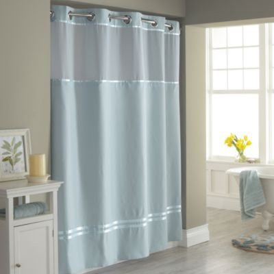 Hookless® Escape Blue 71-Inch W x 74-Inch L Fabric Shower Curtain and Liner Set - BedBathandBeyond.com