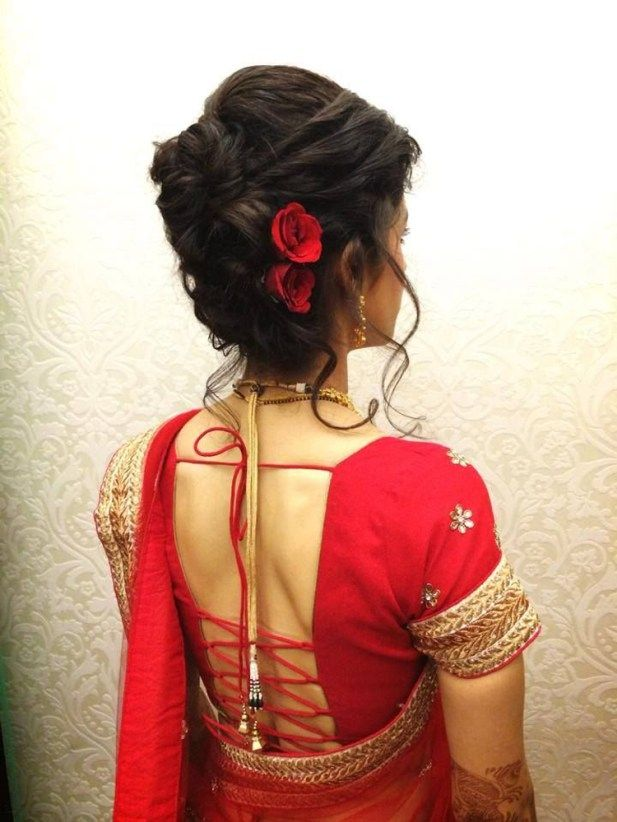 Indian Bridal Hairstyle With Red Flowers