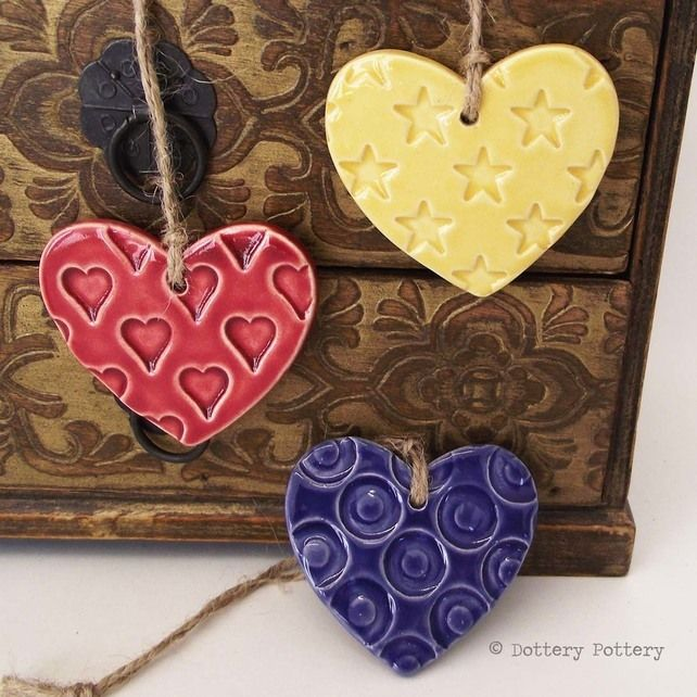 Ceramic Heart decorations set of three pottery hearts bright colours £8.50