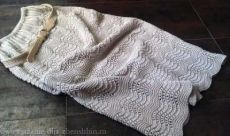 Вязаная юбка узором павлинье перо
