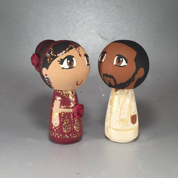 CustomCao Traditional Wedding Wooden Peg Doll Cake Topper with 3D