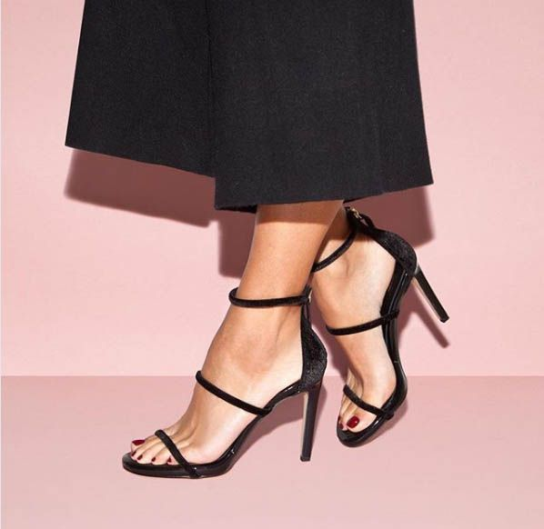 SANTE strappy heeled stiletto sandals in velvet touch... Black
