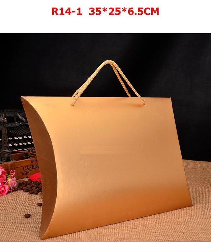 Qi de Gran Tamaño Caja de Regalo Hecho A Mano DIY 35X25X6.5 cm Caja de Regalo de Papel En Blanco Kraft de Embalaje Almohada Caja de cartón para La Bufanda/Empate/Ropa