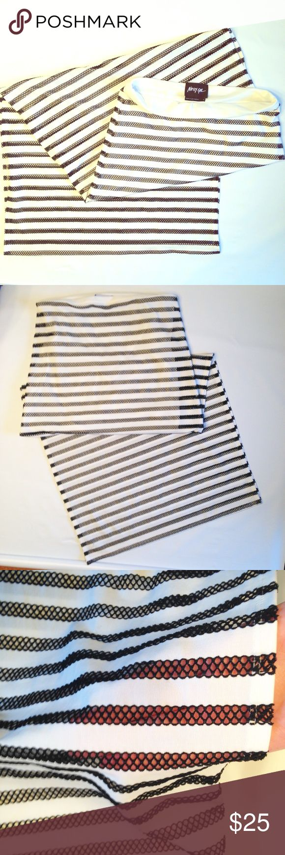 """Nasty Gal Skirt Sz Large Black & White Beautiful maxi skirt by Nast Gal in very good used condition. Size Large. Black and white horizontal stripes, partially sheer as pictured. Total length is 41"""". Sexy slits up both sides measure 26 1/2"""".  The slip lining at the top is 15 1/2"""". Reasonable offers are considered! Nasty Gal Skirts Maxi"""