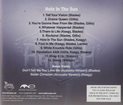 Night Ranger Hole In The Sun 2007 USA CD album VH00120: NIGHT RANGER Hole In The Sun (2007 US 14-track VH1 Classic Records advance…