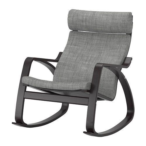 POÄNG Rocking chair, black-brown, Isunda gray Isunda gray black-brown