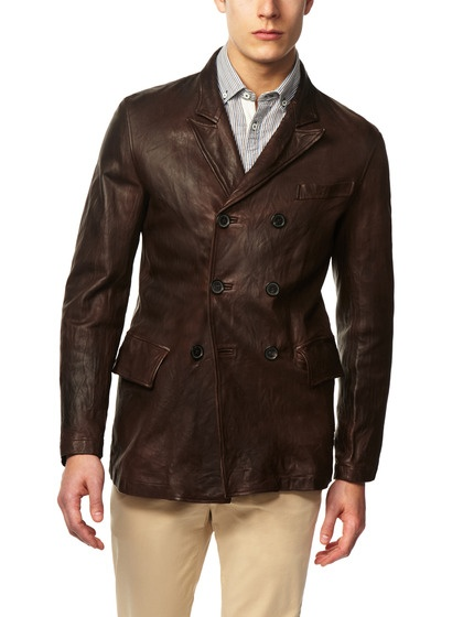 Images of Leather Pea Coat - Reikian