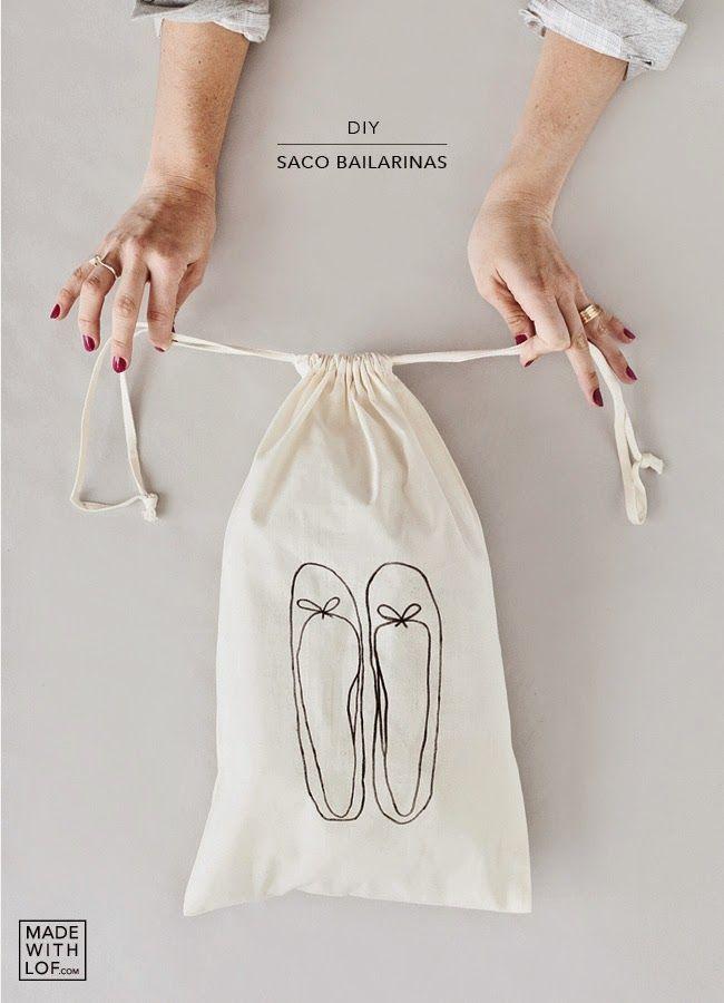 #diy drawstring shoe sack with free printable ballerina flats