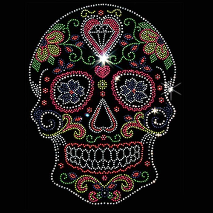 Day of the Dead Neon Color Sugar Skull T Shirt Womens TANK TOP Shirt Rhinestuds Rhinestones 18169