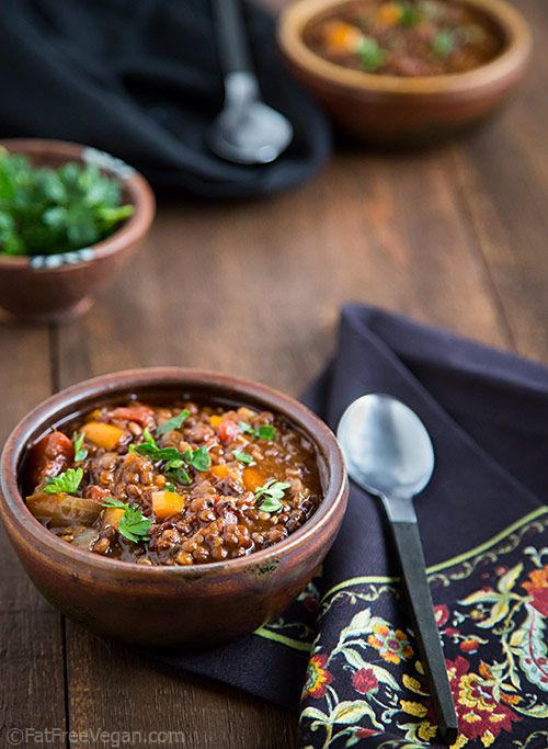 Black and Red Lentil Chili | Fat-Free Vegan Kitchen | Another lentil #recipe! (I love lentils.) It's #vegan, of course, and it's oil-free, too.