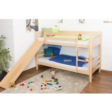 Bunk bed / Children's bed David, with slide, solid beech wood, clearly varnished, incl. slatted frame - 90 x 200 cm