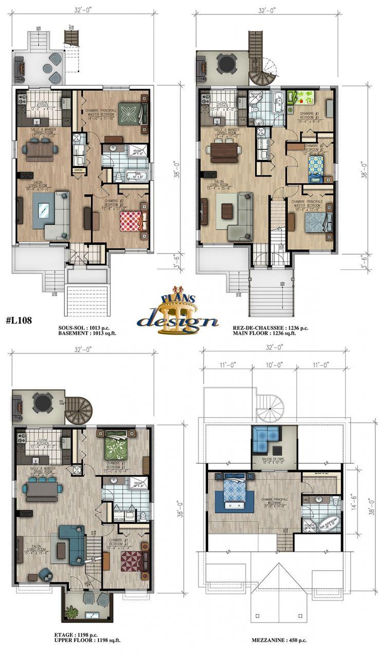 1104 best home floorplans condos images on pinterest for Triplex design plans