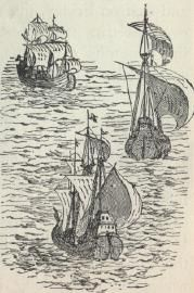 """3 August 1492, Columbus departed from Palos de la Frontera with three ships: a larger carrack, the Santa María ex-Gallega (""""Galician""""), and two smaller caravels, the Pinta (""""Painted"""") and the Santa Clara, nicknamed the Niña (lit. """"Girl"""") after her owner Juan Niño of Moguer. The Santa María was owned by Juan de la Cosa and captained by Columbus. The Pinta and the Niña were piloted by the Pinzón brothers (Martín Alonso and Vicente Yáñez)."""
