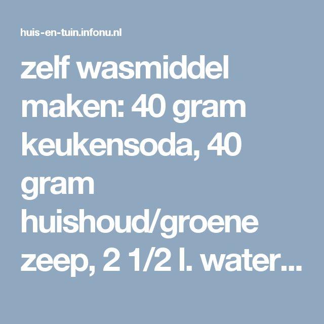 zelf wasmiddel maken: 40 gram keukensoda, 40 gram huishoud/groene zeep, 2 1/2 l. water (200ml. per volle machine. Evt. wat azijn als wasverzachter)
