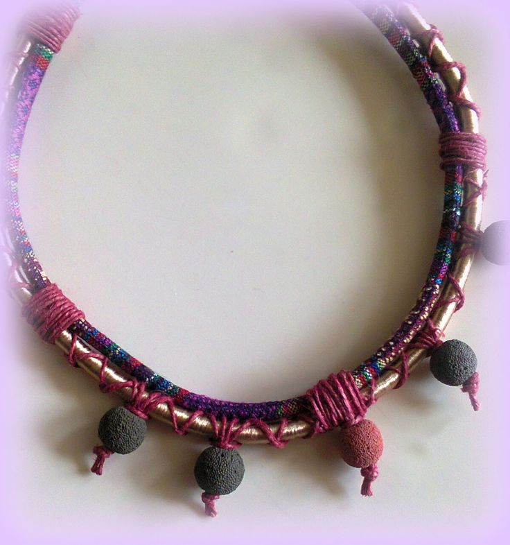 Short necklace with silk and cotton cord, yarn and lava beads by KINZ jewelry