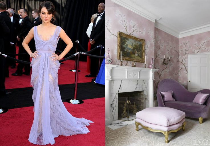 If Mila Kunis's delicate gown could be a room, it would be this boudoir, decorated in soft shades of lavender that seem to float in the air.