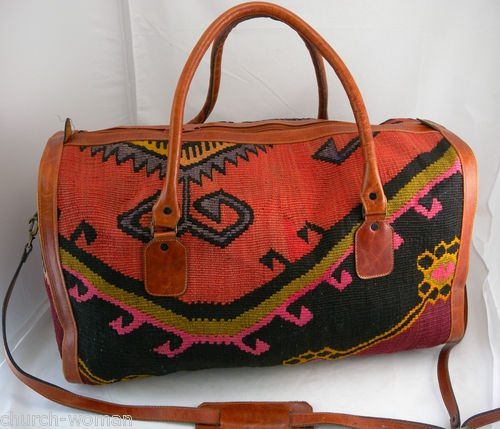 RARE Unique Vintage New 1950's Carmelite Convent Inca Tapestry Design Carpet Bag | eBay