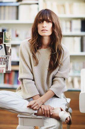 Caroline de Maigret for Net-A-Porter // bangs, neutral knit, pinstripe pants & sandals #style #fashion #editorial